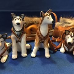 Sled Dogs with Handmade Dog Sled